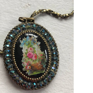 Michal Negrin Rose Cameo Oval  Pendant Necklace